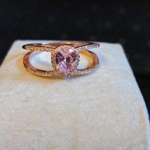 Pink & White Diamond Simulants Rose Ring Sz. 11